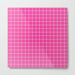 Rose bonbon - pink color -  White Lines Grid Pattern Metal Print
