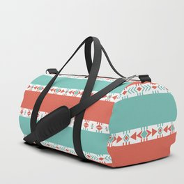 South Western Print in Modern Aqua Turquoise and Coral Geometric Diamonds Arrows Triangles Circles Duffle Bag