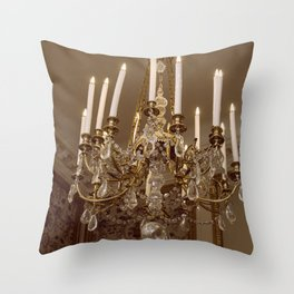 Chandelier Hanging in the Louvre, Paris Throw Pillow