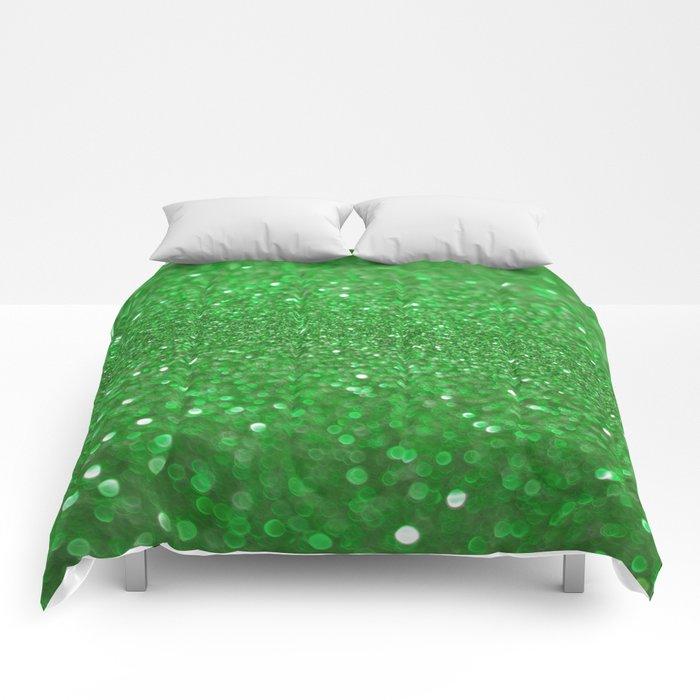 Bright Green Glitter Comforters