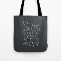 """dumbledore Tote Bags featuring Harry Potter - Albus Dumbledore quote """"We must all face the choice..."""" by SimpleSerene"""
