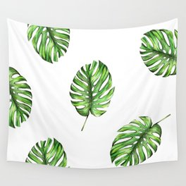 Monstera green leaves Wall Tapestry