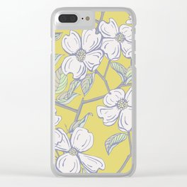 Dogwood Floral in Yellow Clear iPhone Case