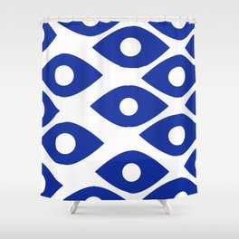 Blue and White Pattern Fish Eye Design Shower Curtain