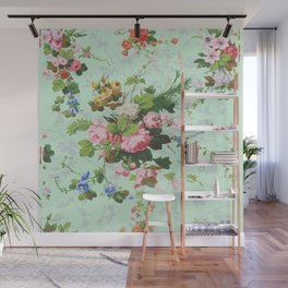 Antique romantic vintage 1800s Victorian floral shabby rose flowers pattern aqua mint hipster print Wall Mural