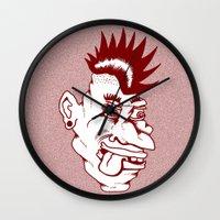 punk Wall Clocks featuring Punk by Adam Metzner