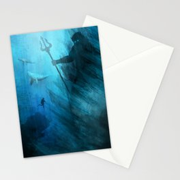 Scuba Diver meets Poseidon  Stationery Cards