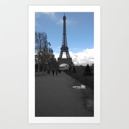 Paris Eiffel tower love black and white with color Art Print