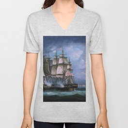 Hms Shannon Boards Uss Chesapeake Off Boston - Thomas Buttersworth Unisex V-Neck