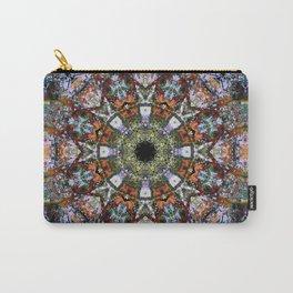 Boho Kaleidoscope Mandala and Stripe Pattern Carry-All Pouch