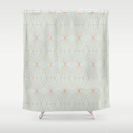 Geometry art decó in blue and orange Shower Curtain