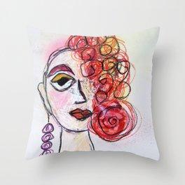 Scribble Girl Ms Charmin Throw Pillow
