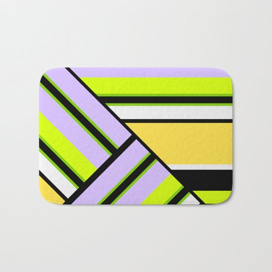 Striped , multi-colored , asymmetric combination pattern . Patchwork . Bath Mat