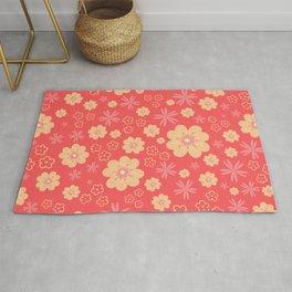 Retro Orange Floral Pattern - Red Rug