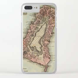 Vintage St Lucia Island Map (1823) Clear iPhone Case