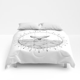 Whale in Waves Comforters