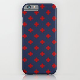 Red Swiss Cross Pattern on Navy Blue background iPhone Case