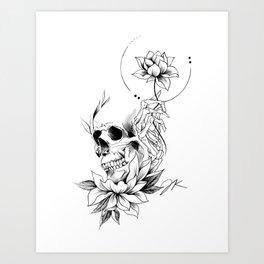 Skull Lotus Art Print