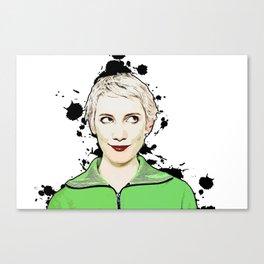 Portrait of Women Looking Up Vector Pop Art illustration Canvas Print