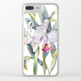 Vintage White Cattleya Orchids and Moth Poster Botanical Design Clear iPhone Case