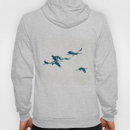 Beautiful Cranes in white background Hoody