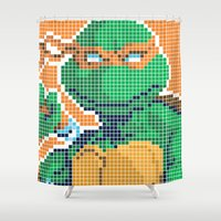 teenage mutant ninja turtles Shower Curtains featuring Teenage Mutant Ninja Turtles - Michelangelo by James Brunner