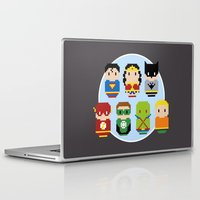 justice league Laptop & iPad Skins featuring Pixel Art - Justice League of America parody by Cloudsfactory