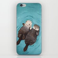 little iPhone & iPod Skins featuring Otterly Romantic - Otters Holding Hands by When Guinea Pigs Fly