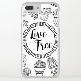 Live Free Pen Sketch Clear iPhone Case