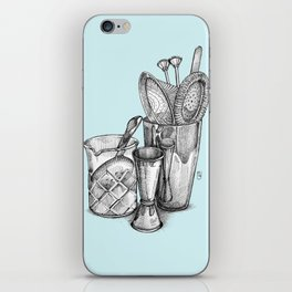 Bartender in turquoise iPhone Skin