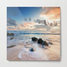 Frothy Seascape Sunset Metal Print