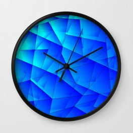 Bright sea pattern of heavenly and blue triangles and irregularly shaped lines. Wall Clock