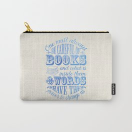 Be Careful Of Books - White and Blue Carry-All Pouch