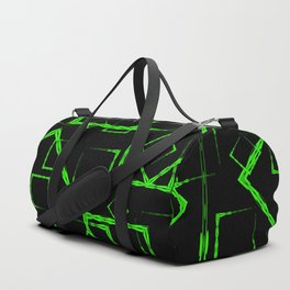 A lot of green rhombuses and squares in chaos on a black background. Duffle Bag