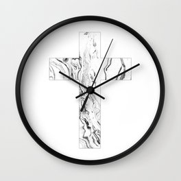 Christian cross marble black & white Wall Clock