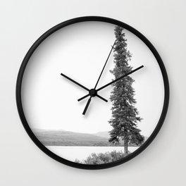B&W Lone Spruce Tree Wall Clock
