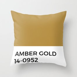 Amber Gold • Color Chip • Pantone Swatch • Warm Tones • Tonal • Minimalist Throw Pillow