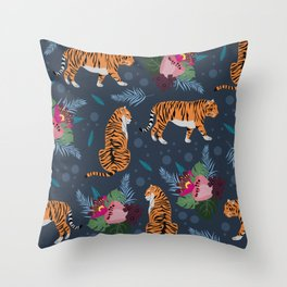 floral wild tigers Throw Pillow