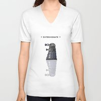 dalek V-neck T-shirts featuring Pixel Dalek by Dean Bottino