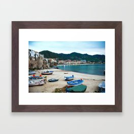 Boats on Beach at Cefalu Italy Framed Art Print