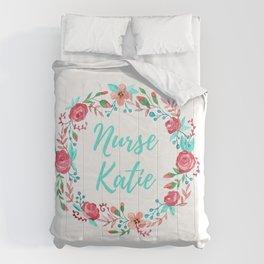 Nurse Katie - Floral Wreath - Watercolor Comforters