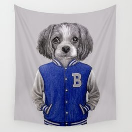 dog boy portrait Wall Tapestry