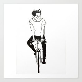 Dad on a bike Art Print