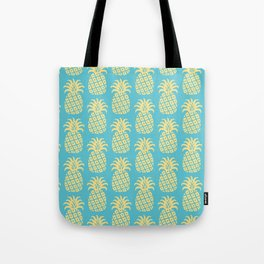 Mid Century Modern Pineapple Pattern Blue and Yellow Tote Bag