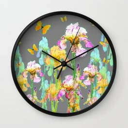 YELLOW BUTTERFLIES SPRING  IRIS GARDEN ART Wall Clock