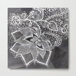White hand drawn floral lace black chalkboard Metal Print