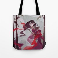 mulan Tote Bags featuring Mulan by Ann Marcellino