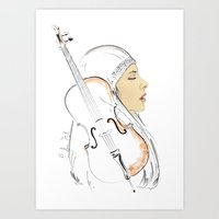 cello Art Prints featuring Cello by Lluna Llunera