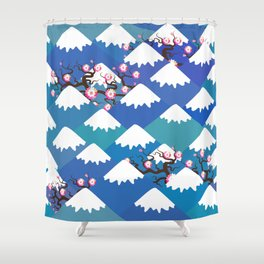 Spring Nature background with Japanese cherry blossoms, sakura pink flowers landscape. blue mountain Shower Curtain