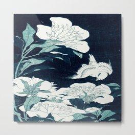 JAPANESE FLOWERS Midnight Blue teal Metal Print